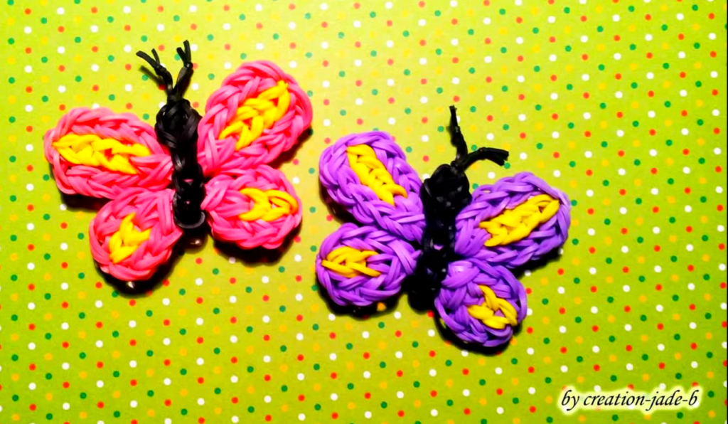 Tutoriel du papillon en lastiques rainbow loom rainbow for Mural en elastique