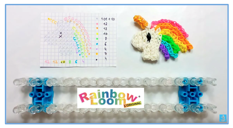 tutoriel rainbow loom t te de licorne kawaii rainbow loom. Black Bedroom Furniture Sets. Home Design Ideas