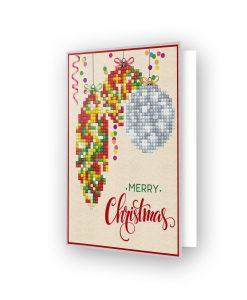 Carte de voeux Boule de Noël Jaune et Rouge DDG.012